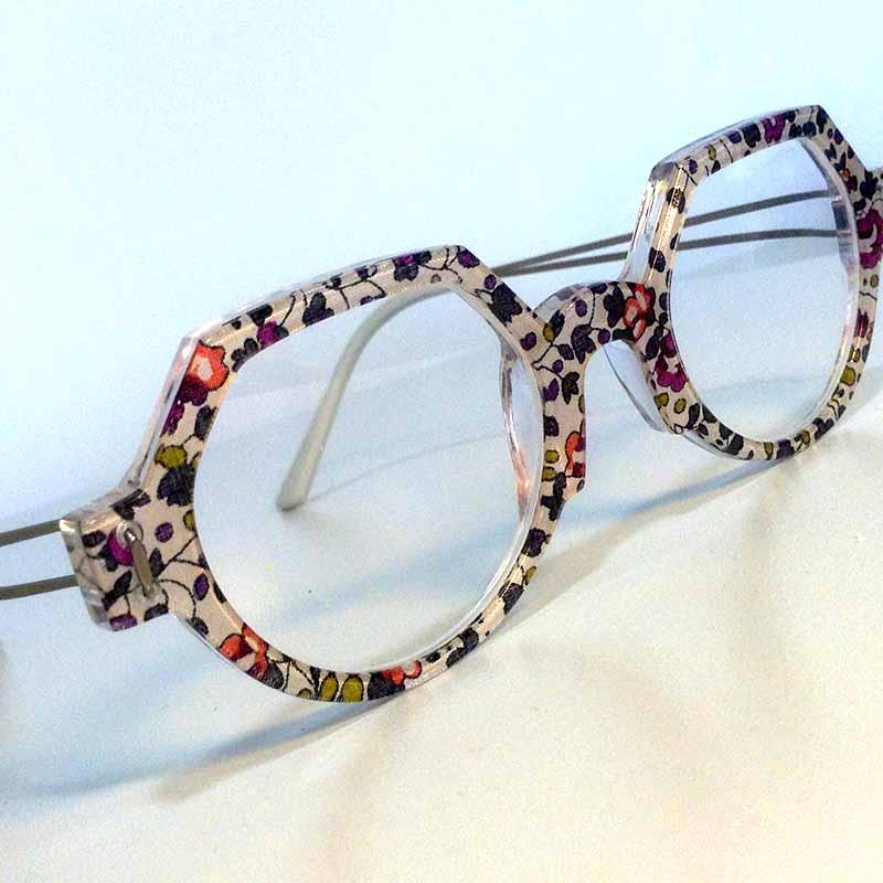 Création originale lunette motifs fleurs Optique Pacheco - Optique Pacheco