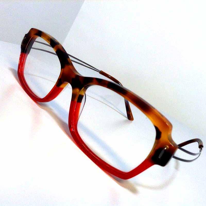 Création originale lunette rouge orange Optique Pacheco - Optique Pacheco