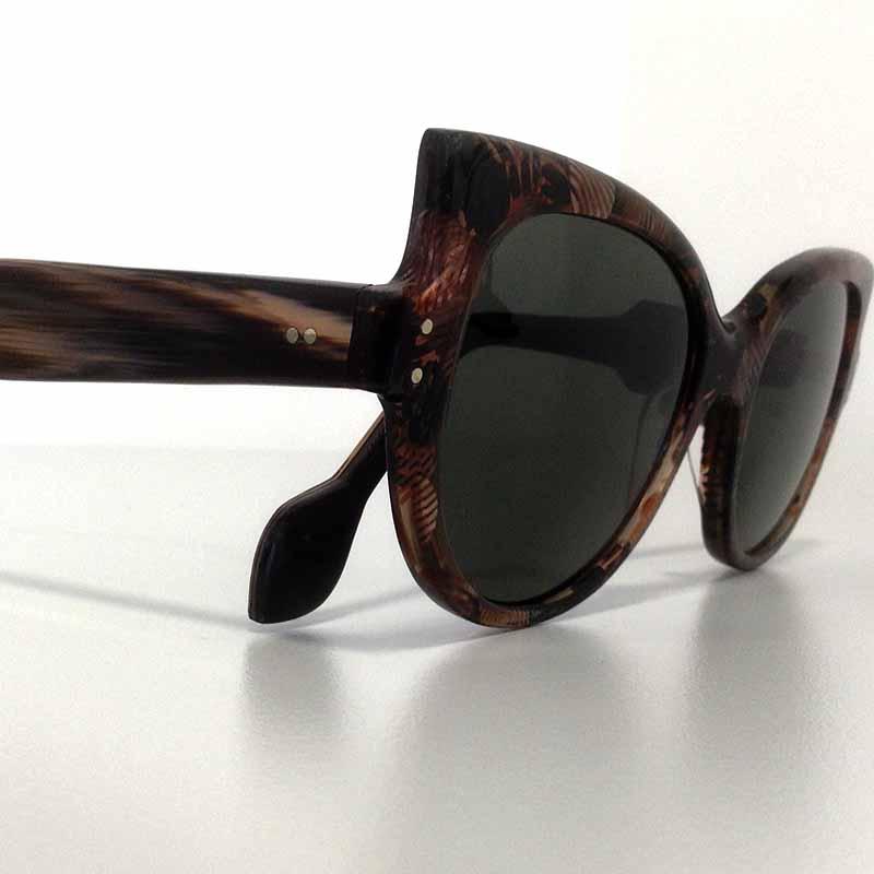 Création originale lunette soleil motifs marrons Optique Pacheco - Optique Pacheco